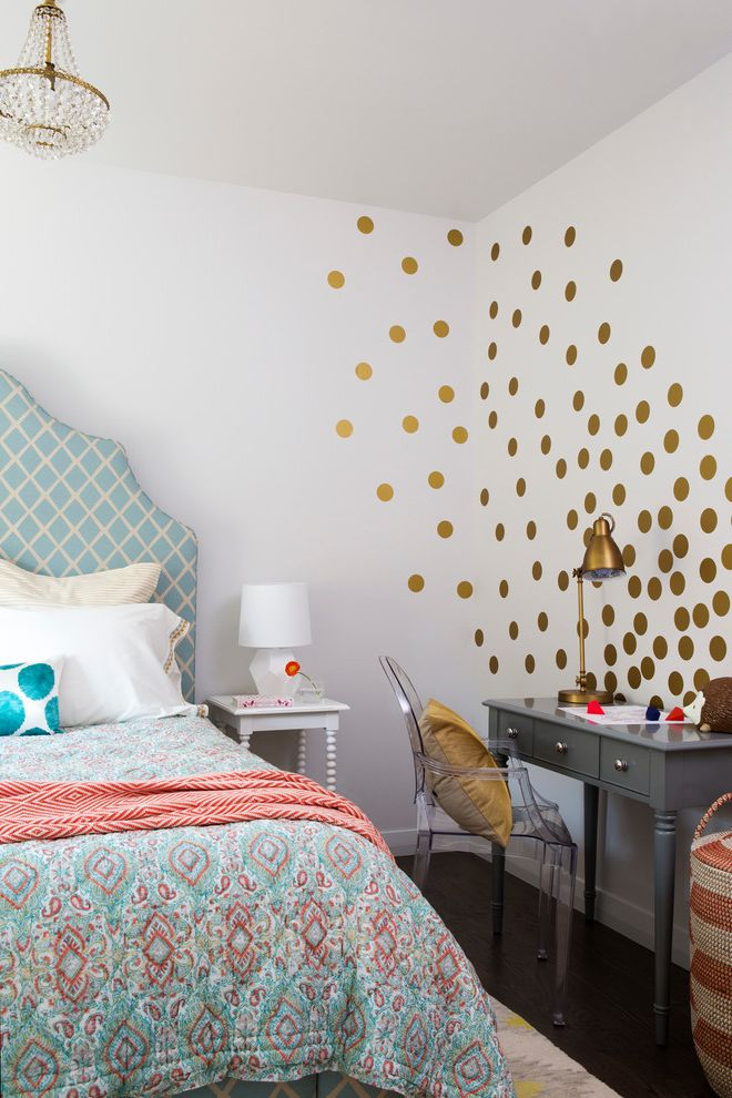 Define Duvet   Transitional Bedroom  and Antique Chandelier Blue Bright Clean Color Colorful Contemporary Eclectic Global Gold Mid Century Mid Century Modern Polka Dots Turquoise Upholstered Headboard Vintage Vintage Modern Wall Decals White Walls