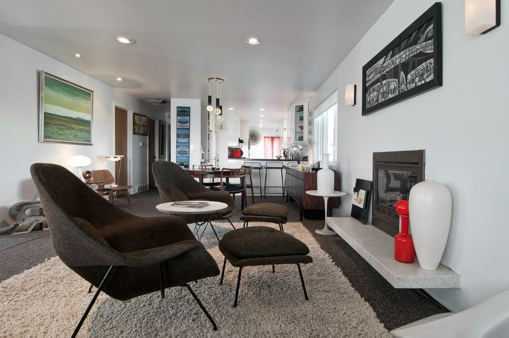 Define Hearth   Midcentury Living Room Also Black Chair Black Frame Charcoal Chair Dining Table Great Room Light Gray Rug Modern Icon Modern Ottoman Recessed Lighting Shag Rug White Walls Womb Chair