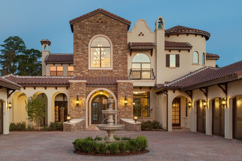 Del Frisco's Orlando   Mediterranean Exterior Also Arched Door Arched Doorways Arched Windows Outdoor Lanterns Water Fountain