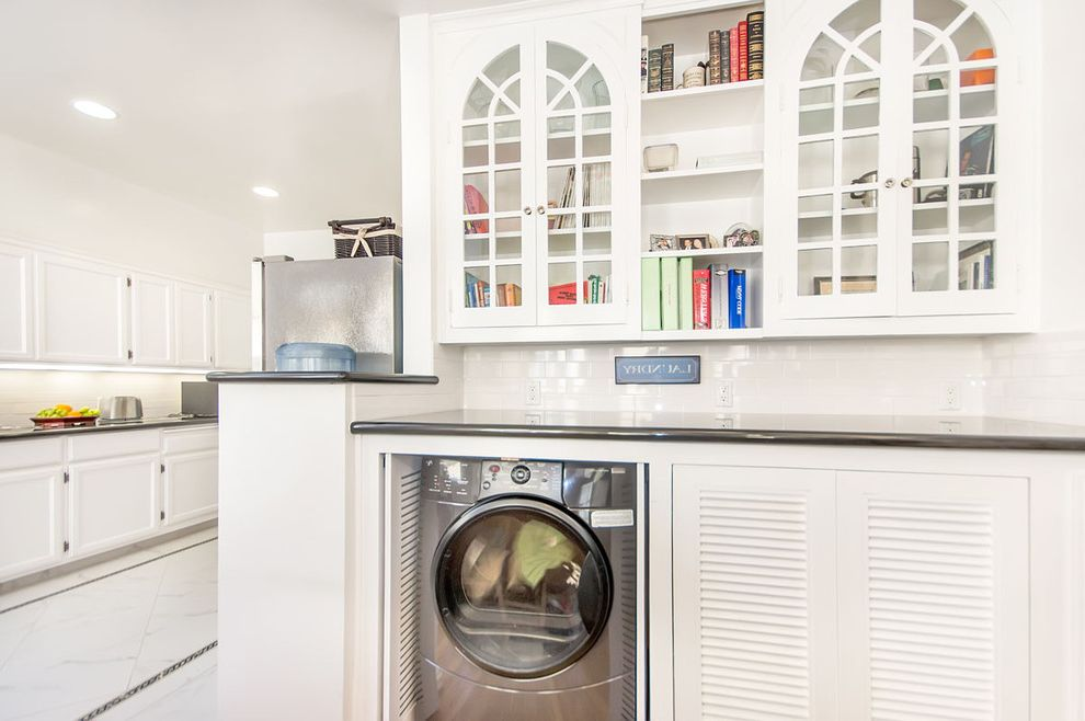 Depth of Washer and Dryer with Traditional Laundry Room Also Cottage Kitchen Laundry Cabinet Shelves Tiled Backsplash White White Kitchen Cabinet White Tile