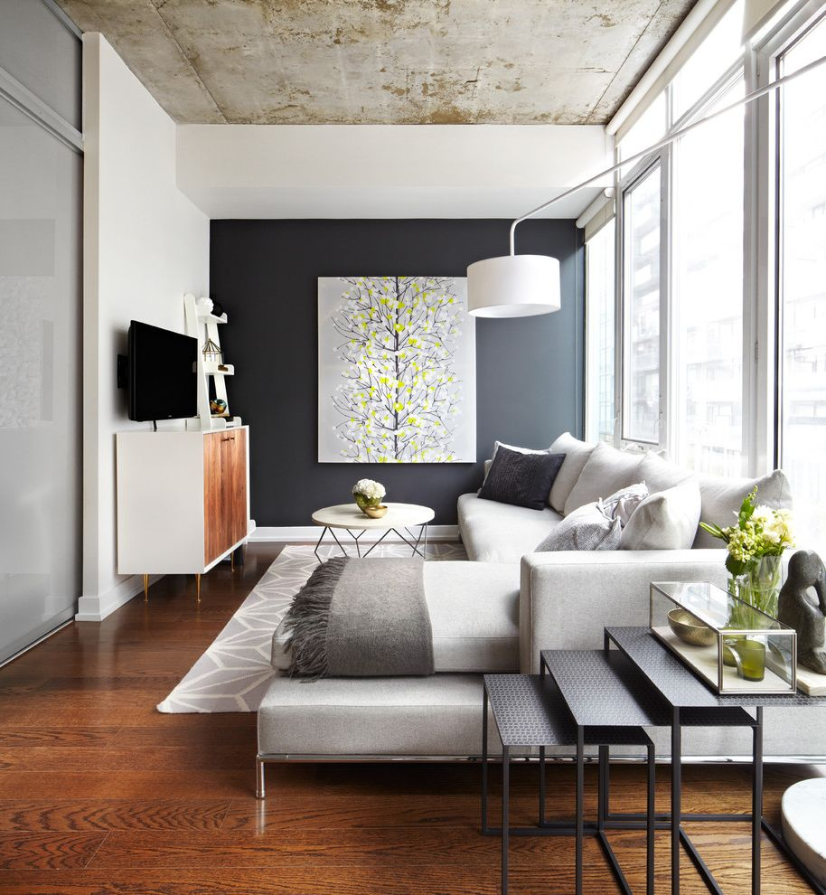 Design by Humans Reviews   Contemporary Family Room Also Accent Wall Area Rug Art Coffee Table Condo Couch Dark Wall Gray Grey Loft Nesting Tables Neutral Tones Rug Sectional Small Small Condo Small Space Tables Tv Tv Stand Wood Flooring Wood Floors