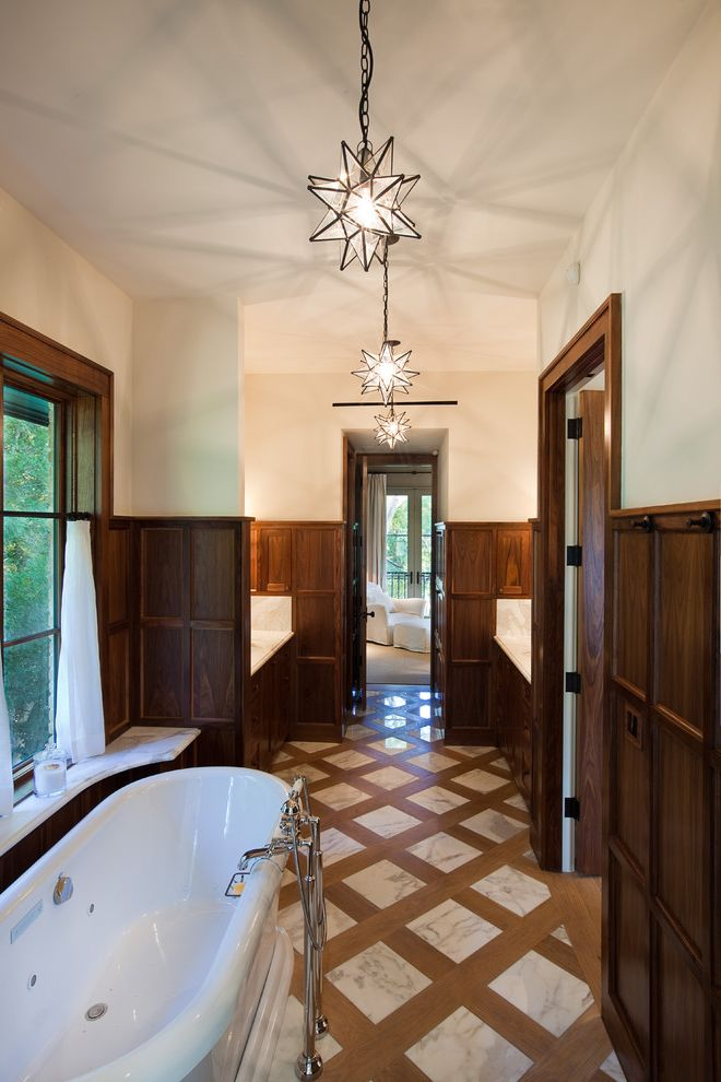 Design by Humans Reviews with Victorian Bathroom Also Criss Cross Floor Floor Tile Design Freestanding Tub Marble Marble Flooring Moravian Star Pendant Lighting Wainscoting Window Sill Wood Paneling Wood Trim