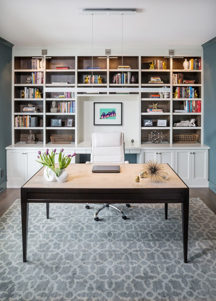 Desk Height Base Cabinets   Transitional Home Office  and Bookcase Bookcase Sconce Custom Built in Custom Desk Custom Wall Unit Floating Desk Jeff Lewis Color Green with Envy Lattice Rug Modern Farmhouse Office Accessories Painted and Stained Built In