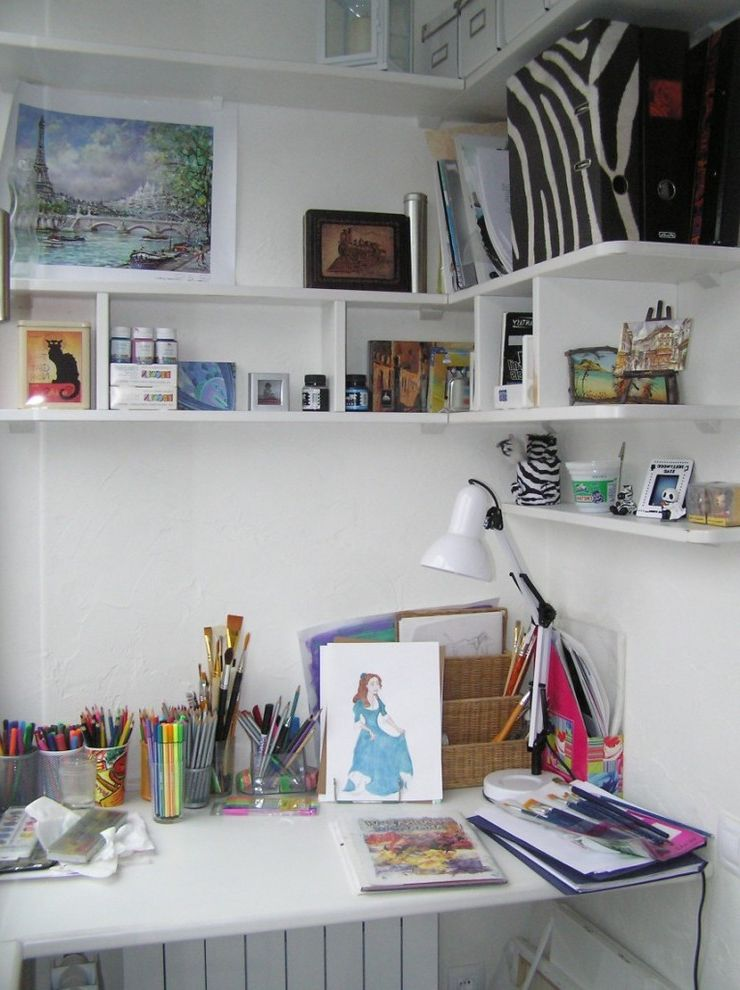 Desk with Shelves Above with Contemporary Kids and Art Corner Built in Shelves Desk Desktop Floating Shelves Office Accessories Storage Wall Shelves White Wood Workspace