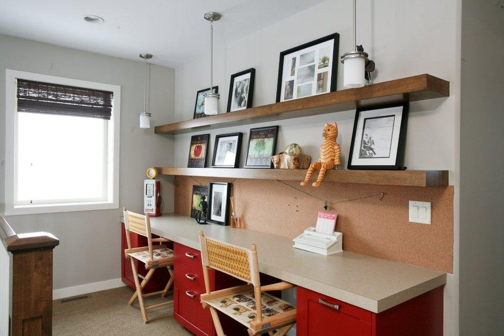 Desk with Shelves Above with Contemporary Kids and Bulletin Board Directors Chair Floating Shelves Pendant Lighting Photo Ledge Red Desks Shared Workspace