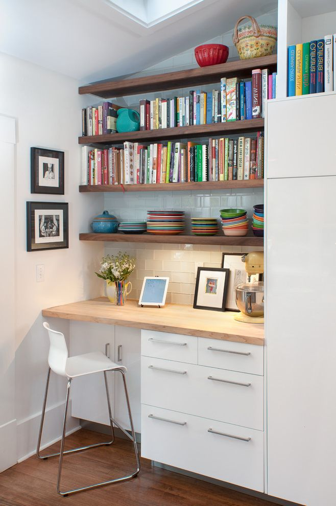 Desk With Shelves Above Contemporary Kitchen And Banquette Seating Barn Light Electric Co Built In Butcher Block Floating Flor Ikea