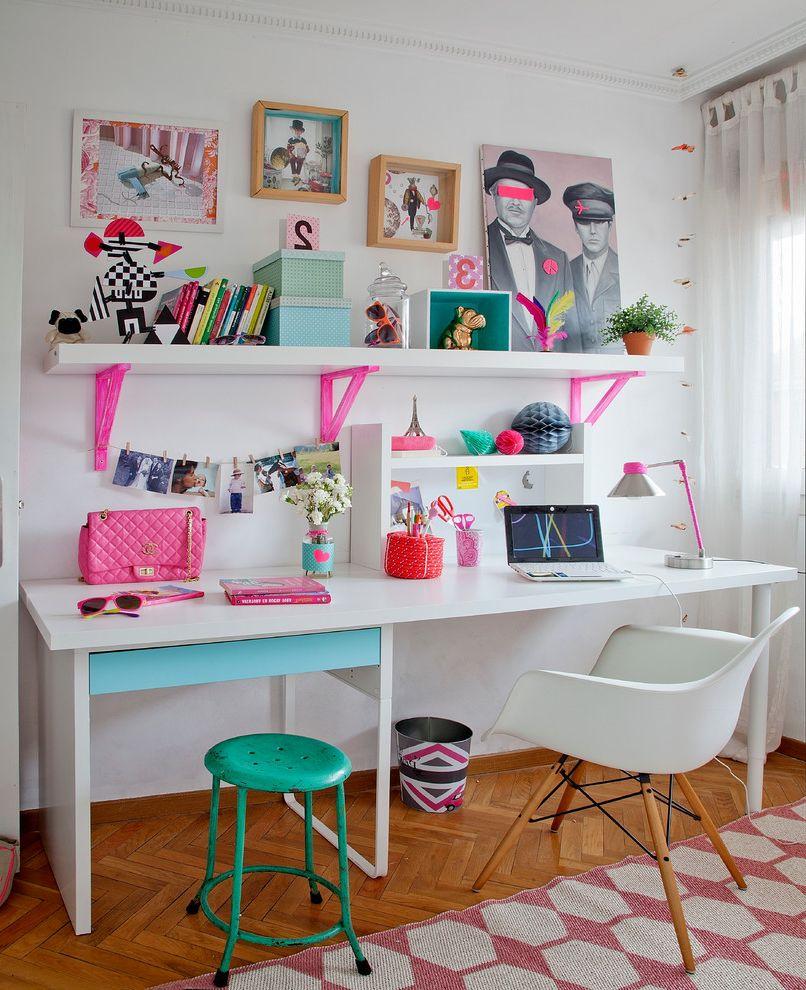 Desk with Shelves Above with Scandinavian Kids and Alfombra Blanco Cama Cuarto Dormitorio Escritorio Estudio Fluo Infantil Luz Rosa Silla Taller Turquesa