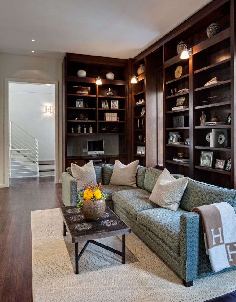 Desk with Shelves Above with Traditional Family Room and Area Rug Built in Shelves Coffee Table Doorway Neutral Sconces Sofa Staircase Throw Wood Floors