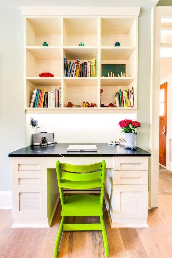 Desk With Shelves Above Transitional Home Office And Black Counter Books Built In Cubbies Frame Panel Cabinets Light Gray Walls Lime Green