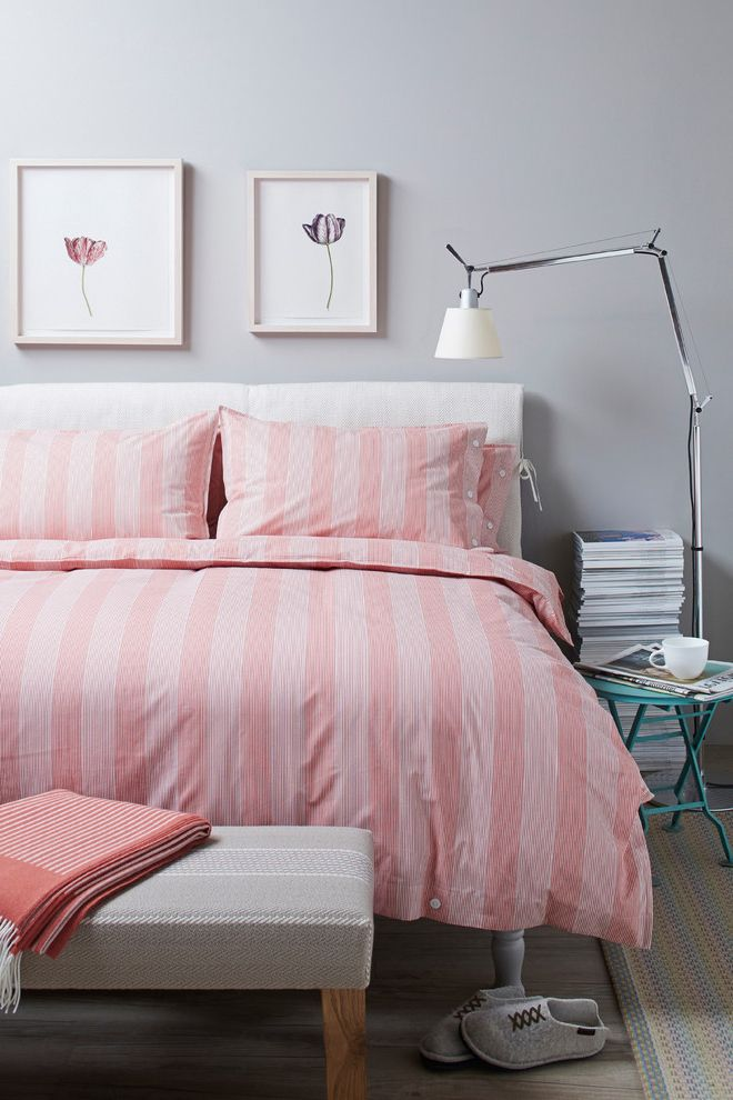 Devet Cover with Contemporary Bedroom Also Bedding Bedlinen Bedroom Beds Cotton Girls Bedroom Girls Bedroom Design Girls Room Pink Pink and Grey Pink Bedding Rouge Shades of Grey Striped Bedding Stripes Teen Girls Bedroom