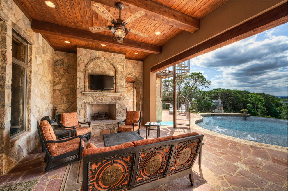 Df Patio Furniture with Mediterranean Patio  and Ceiling Ceiling Fan Covered Ceiling Exposed Beams Outdoor Cushions Outdoor Fireplace Outdoor Tv Patio Furniture Patio Pavers Pool Recessed Lighting Tv Above Fireplace Wood Ceiling