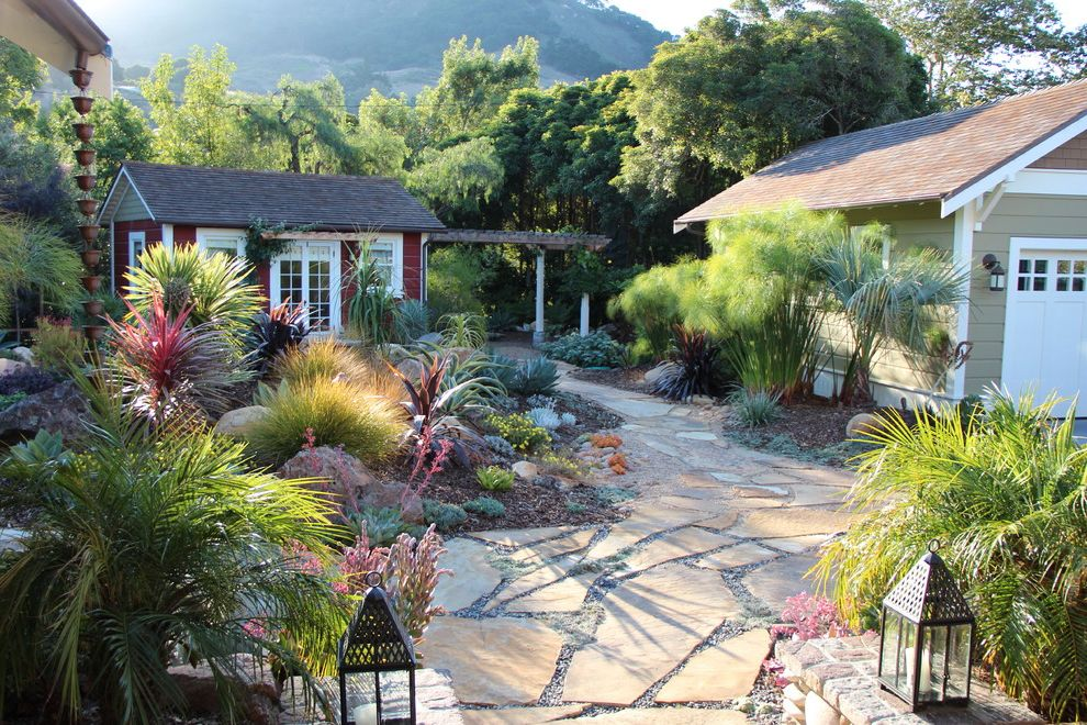 Difference Between King and California King   Mediterranean Landscape  and Boulders Colorful Drought Tolerant Flagstone Garden Shed Grasses Ground Cover Lanterns Mediterranean Papyrus Patio Pavers Permeable Paving Rocks San Luis Obispo Succulents