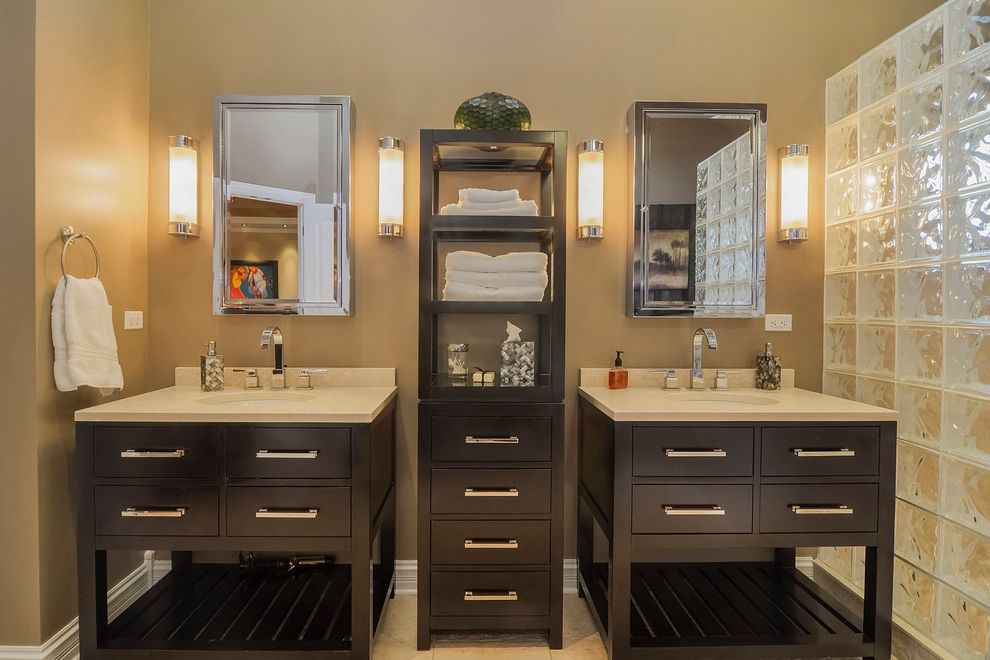 Difference Between King and California King   Transitional Bathroom Also Bathroom Storage Double Sinks Double Vanities Glass Blocks Glass Cubes Khaki Wall Storage Vanity Towel Ring Towel Storage Wall Mirrors Wall Sconce