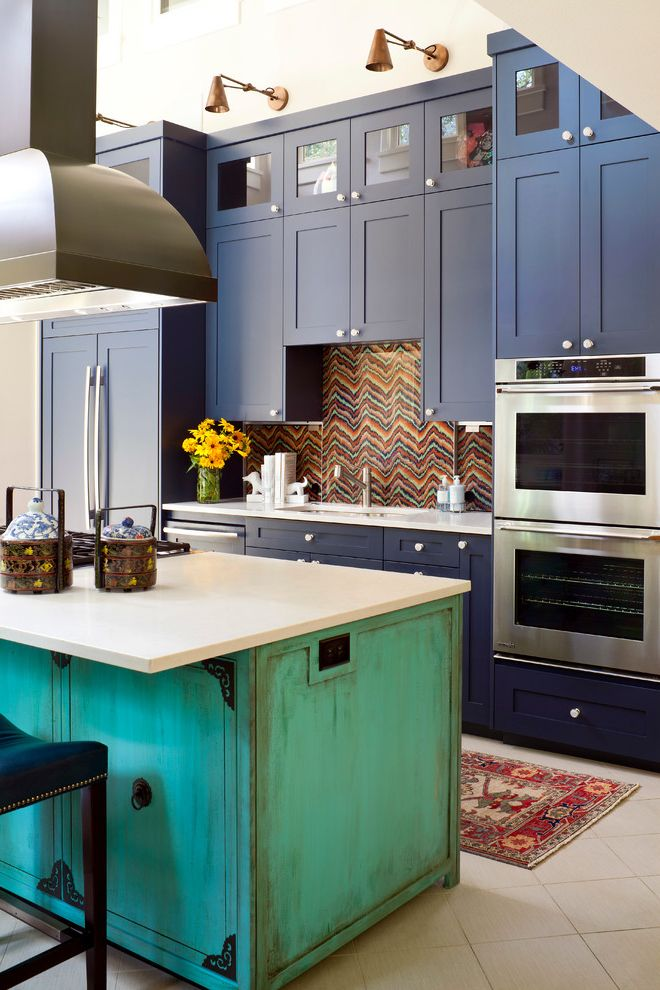Difference Between Queen and Full   Eclectic Kitchen Also Afganistan Rug Asian Accessories Blue Cabinets Counter Stools Custom Kitchen Island Customized Wallpaper Backsplash with Protective Cover Glass Cabinet Pulls Hood Sconces