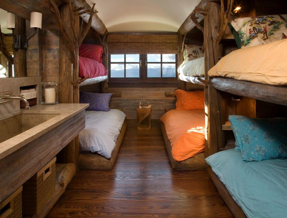 Difference Between Queen and Full   Rustic Kids  and Bunk Beds Colorful Bedding Dark Wood Flooring Integrated Sink Natural Blinds Rustic Logs Sood Walls Wall Mounted Faucet Wall Sconces Wood Side Table Wood Trim