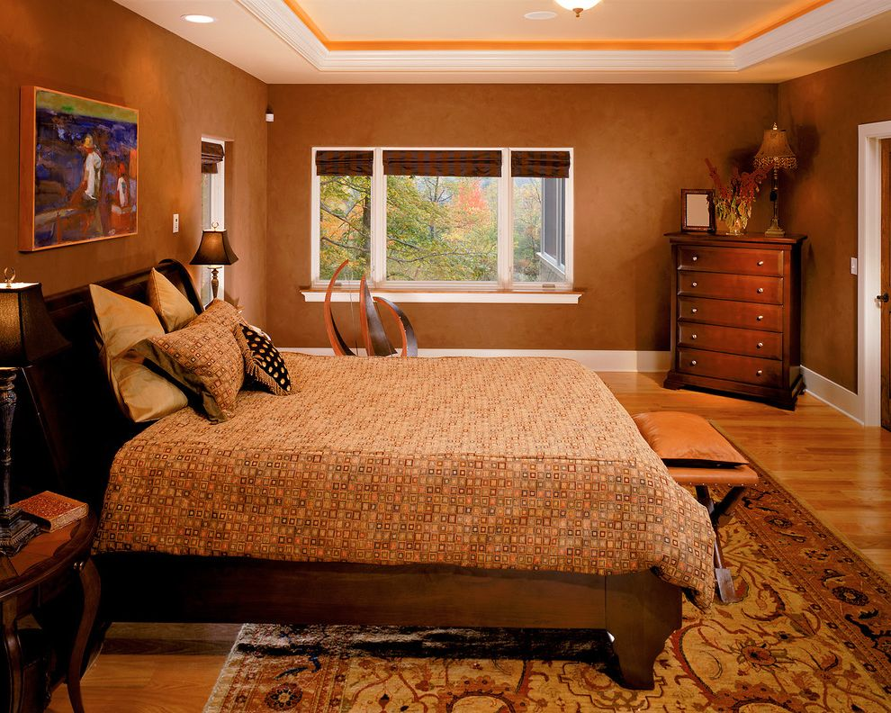 Different Color Wood Floors with Traditional Bedroom Also Area Rug Baseboard Brown Wall Ceiling Lighting Chest of Drawers Dresser Faux Finish Foot of the Bed Oriental Rug Recessed Lighting Valance White Wood Wood Flooring Wood Trim