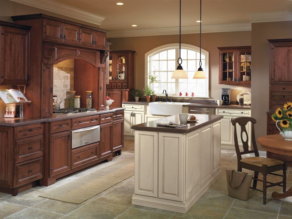 Different Color Wood Floors with Traditional Kitchen  and Traditional