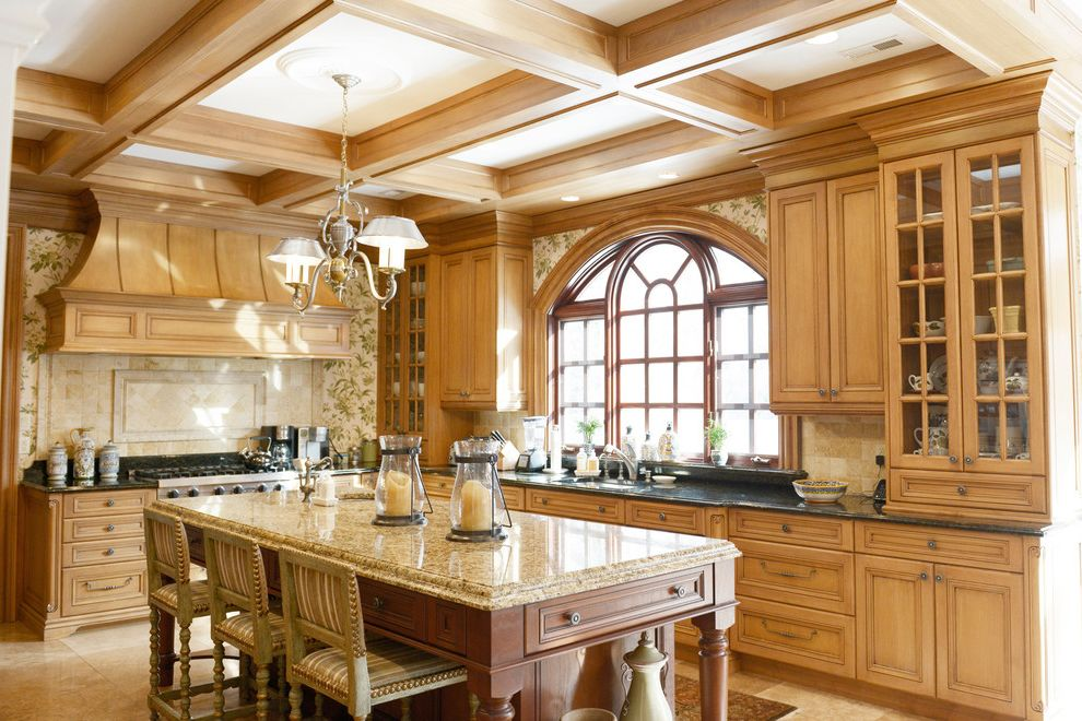 Different Colors of Granite   Traditional Kitchen Also Arched Window Beige Countertop Black Countertop Chandelier Coffered Ceiling Kitchen Island Nailhead Trim Palladian Window Wallpaper
