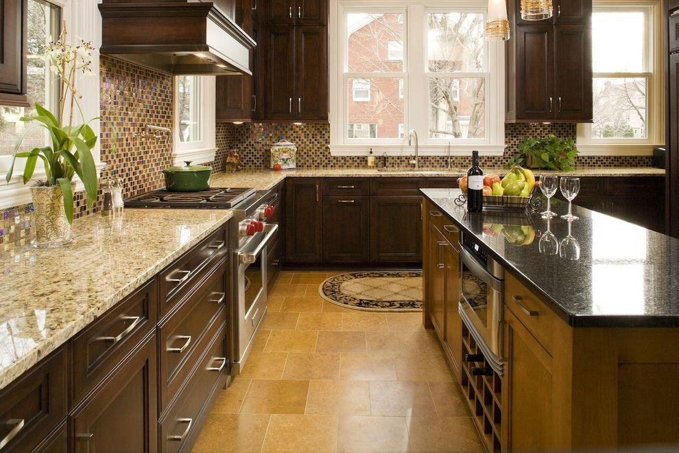 Different Colors of Granite   Traditional Kitchen  and Kitchen Island Mosaic Tile Neutral Colors Range Hood Stainless Steel Appliances Tile Kitchen Backsplash Under Cabinet Lighting Wine Racks Wine Storage