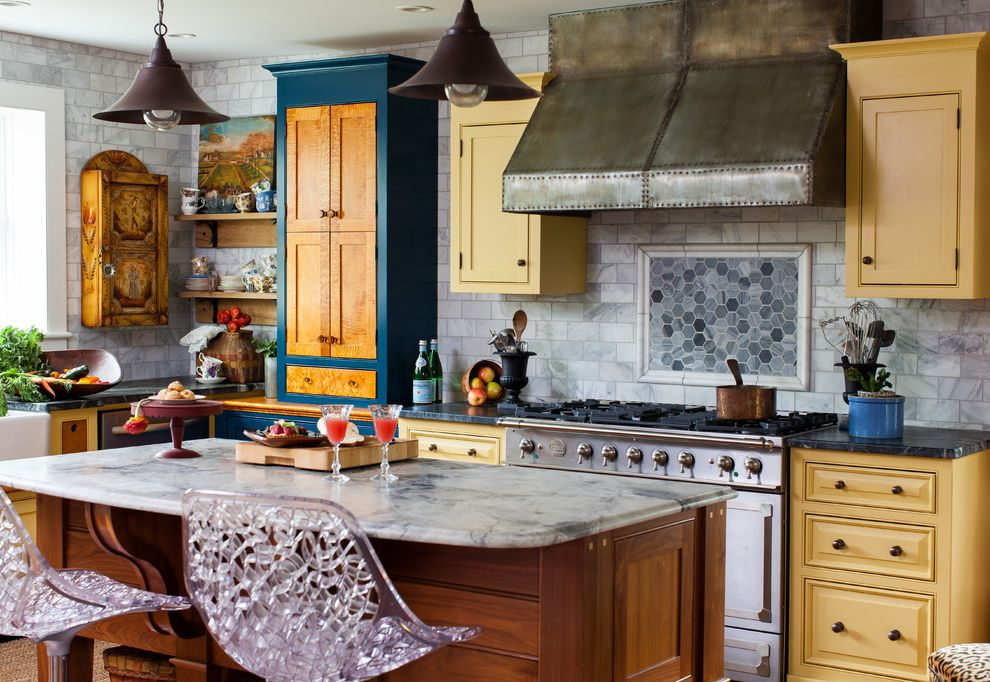 Different Colors of Granite with Farmhouse Kitchen  and Blue and Yellow Clear Counterstools Colorful Kitchen Hexagonal Tile Steel Hood