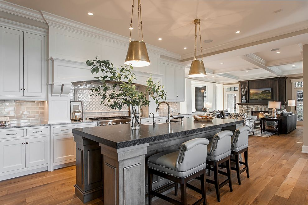 Different Colors of Granite with Transitional Kitchen  and Casual Elegance Counter Stools Nailhead Trim Pendant Lights Vase White and Gray White and Grey White Kitchen