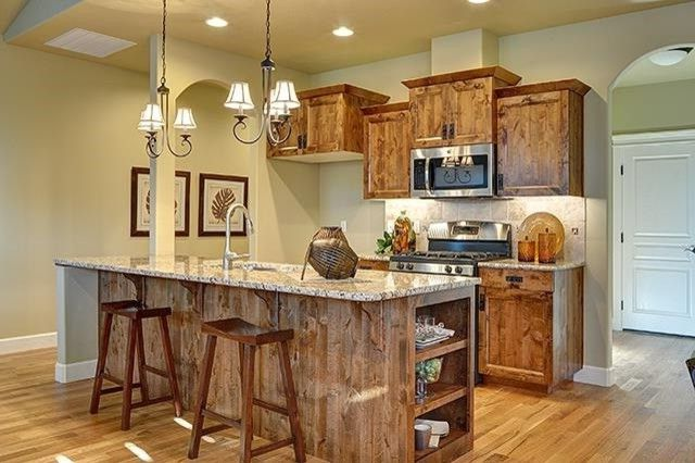 Dillabaugh's   Craftsman Kitchen Also Builder Granite Hardwood Kitchen New Construction