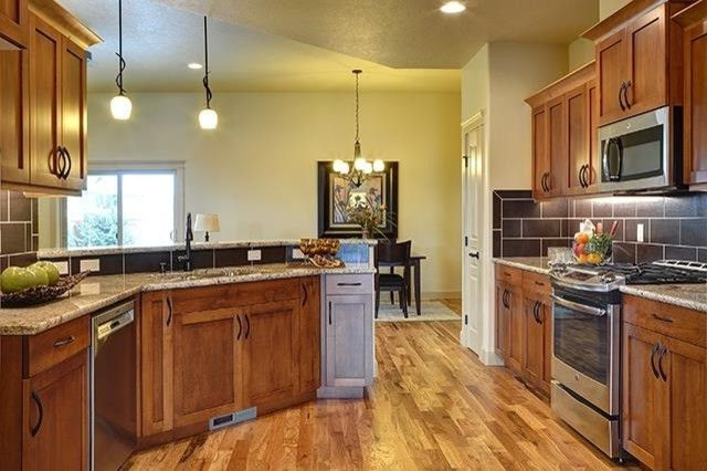 Dillabaugh's   Craftsman Kitchen Also Granite Hardwood Flooring Kitchen Large Backsplash