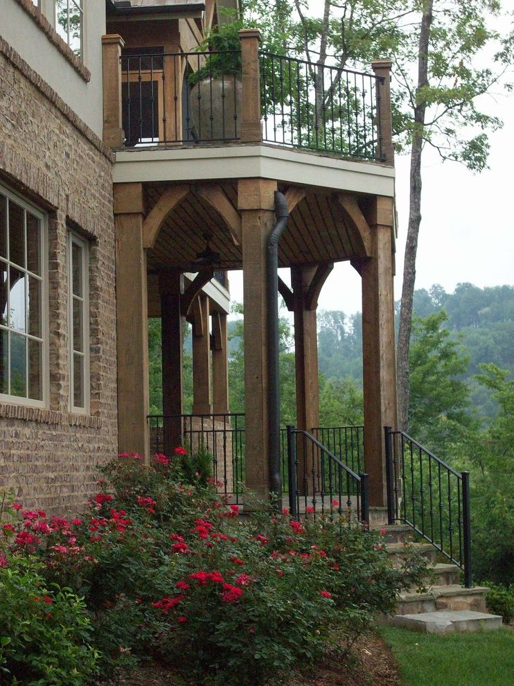 Dillard Jones Builders   Traditional Exterior Also Arches Balcony Brick Foundation Planting Porch Potted Plant Roses Timbers Trees Wood Ceiling Wrought Iron Railing