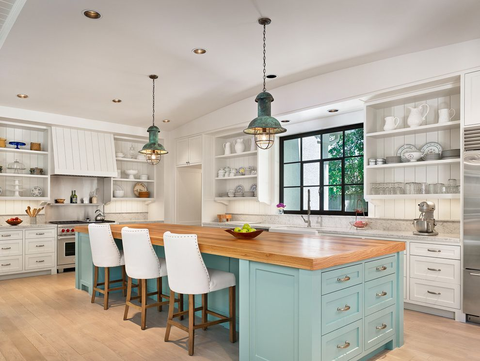 Dillons Beach with Beach Style Kitchen  and Blue Island Curved Ceiling Industrial Pendant Light Kitchen Island Nailhead Trim Open Shelves Turquoise Island White Bar Stools White Countertop