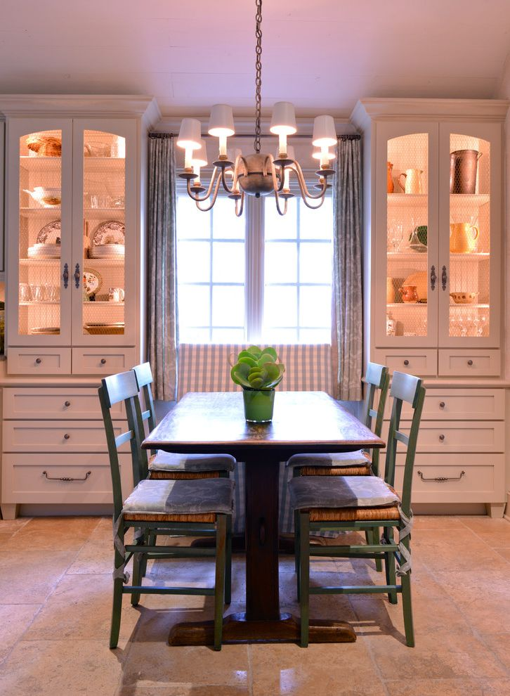 Dining Set with China Cabinet   Farmhouse Dining Room  and Bench Built in Storage Cabinets Chandelier Dining Table Farmhouse Green Green Chair Plaid Rustic Table Tiled Floor Window Window Treatment