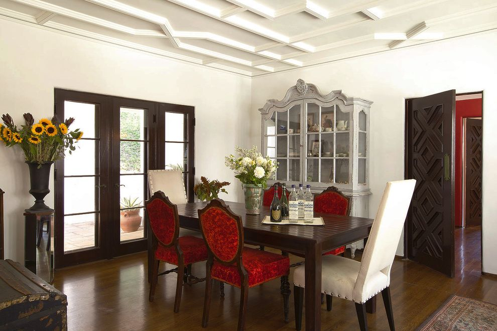Dining Set with China Cabinet with Traditional Dining Room Also Ceiling Molding Centerpiece Dining Buffet Dining Hutch Dining Table French Doors High Ceilings Mixed Dining Furniture Ornate Door Red Accent Sunflowers Wood Flooring Woodwork