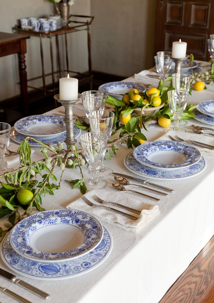 Dinnerware Sets for 8 with Mediterranean Dining Room Also Beverage Cart Candles Cloth Napkins Dark Stained Wood Lemons Pewter Place Settings Stemware Tablecloth