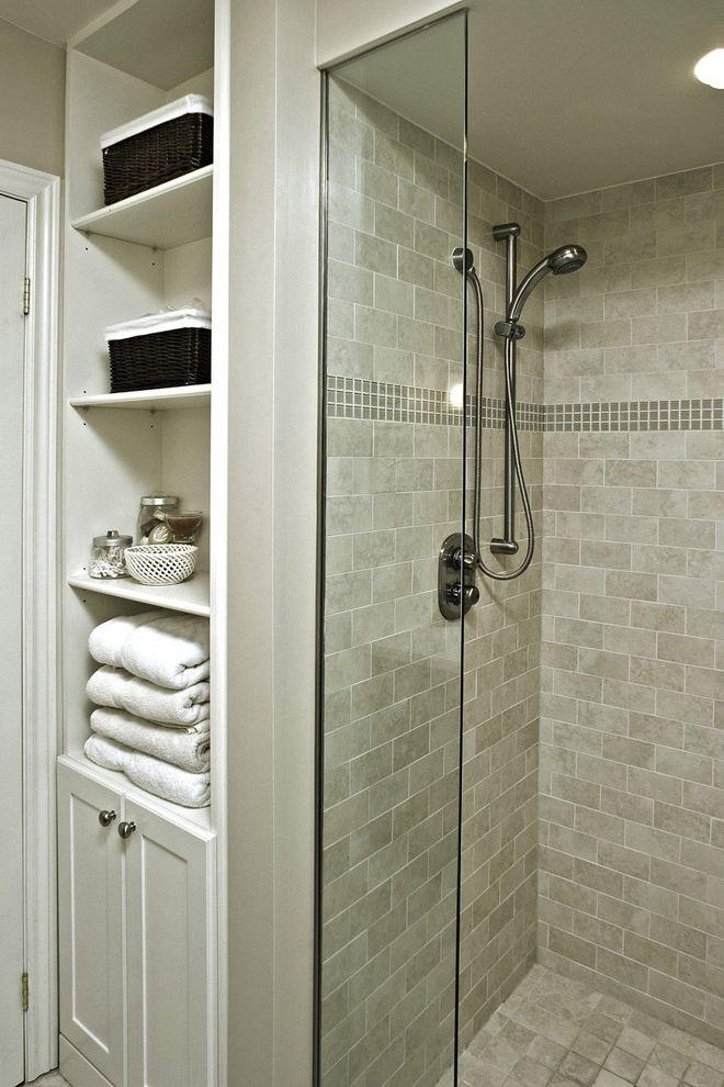 Direct Buy Denver   Traditional Bathroom  and Bathroom Storage Glass Accent Tiles Glass Shower Door Neutral Colors Storage Baskets Subway Tiles Tile Flooring Tile Wall Towel Storage White Wood Wood Trim