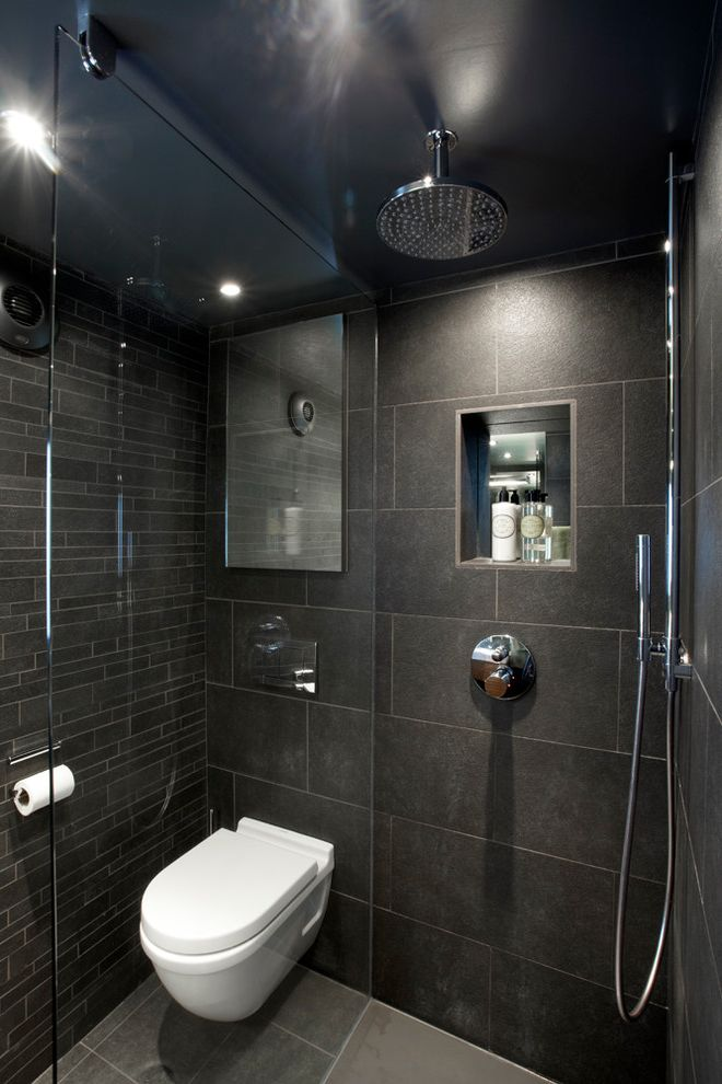 Ditra Heat Mat with Contemporary Bathroom Also Dark Moody Slate Wetroom