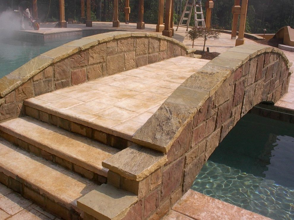 Dixie Pools    Pool Also Bridge Concrete Deck Concrete Deck Around Pool Concrete Design Concrete Pavers Concrete Steps Stained Concrete Stamped Concrete Stamped Concrete Bridge