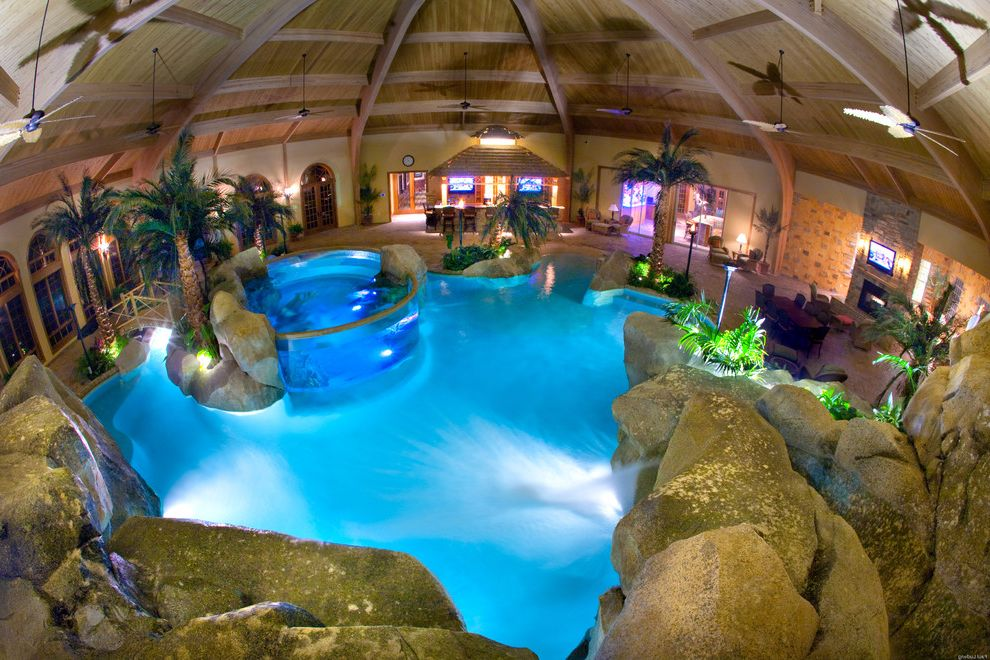 Dixie Pools   Tropical Pool Also Aquarium Beach Entry Cave Fog Grotto Indoor Pool Lagoon Pool Natural Palm Trees Rock Slide Rock Waterfall Salt Water Aquarium Shehan Pools Slide Spa