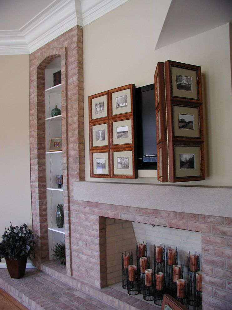 Diy Network Tv Shows   Traditional Living Room Also Conceal Tv Concealed Tv Over Fireplace Custom Photo Panels Gina Fitzsimmons Asid Hiding the Tv Interior Design Annapolis Md Tv Over Fireplace