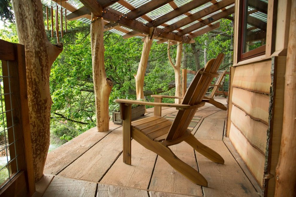 Diy Network Tv Shows with Rustic Balcony  and Adirondack Chairs Diy Network Doe Bay Natural Edge Wood Siding Orcas Island Reclaimed Wood Recycled Wood the Treehouse Guys Diy Network Timber Tree House Treehouse Wide Plank