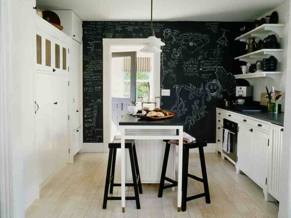 Do Chalk Markers Erase   Beach Style Kitchen  and Bar Stools Beadboard Black and White Black White Chalkboard Chalkboard Paint Dark Counter Island Kitchen Light Hardwood Floor Open Shelf Seating Shelving Stone Wood Floor