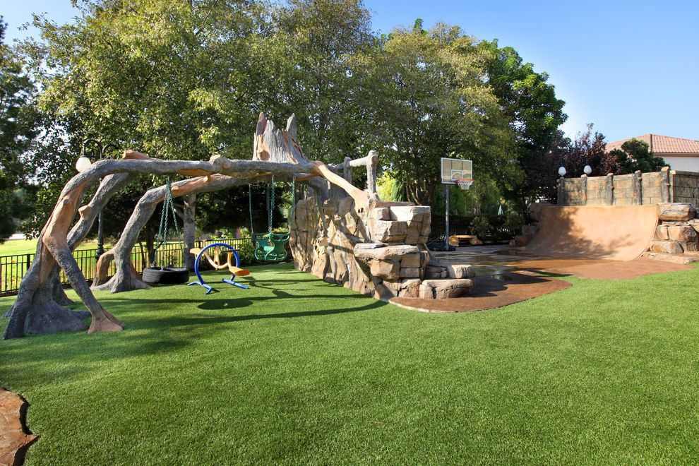 Doctors Review Service   Contemporary Landscape Also Basketball Court Fence Grass Outdoor Play Sets Stone Wall Trees