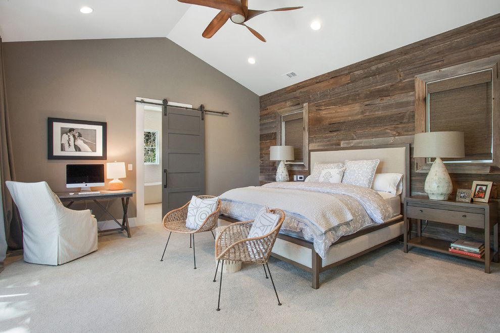 Doctors Review Service   Farmhouse Bedroom  and 100 Year Old Barnwood Arteriors Lamps Bed Ceiling Fan Dovetail Desk Home Office Maria Yee Furniture Maria Yee Table Modern Farmhouse Night Stands Roost Chairs Sliding Barn Door Hardware Wood Wall