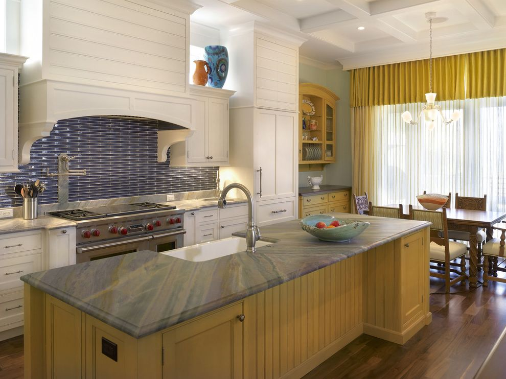 Domain Homes Tampa   Contemporary Kitchen Also Blue Back Splash Custom Home Builder Tampa Kitchen Island Luxury Home Builders Tampa Pot Filler White Kitchen Wood Floors Yellow Cabinets