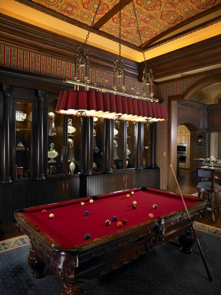 Domain Homes Tampa with Mediterranean Family Room Also Billiard Room Crown Molding Entertainment Room Grand Game Room Mahogany Cabinets Pool Table Striped Wallpaper Wood Trim