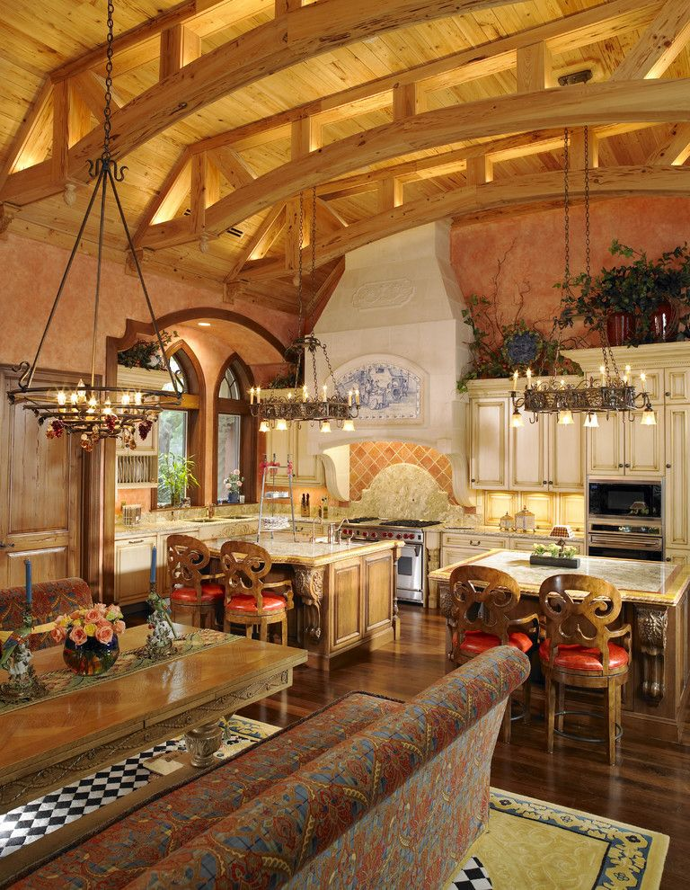 Domain Homes Tampa with Mediterranean Kitchen Also Breakfast Bar Chandelier Country Style Kitchen Eat in Kitchen Exposed Beams Faux Finish Kitchen Island Luxury Kitchen Wood Ceiling Wood Floors
