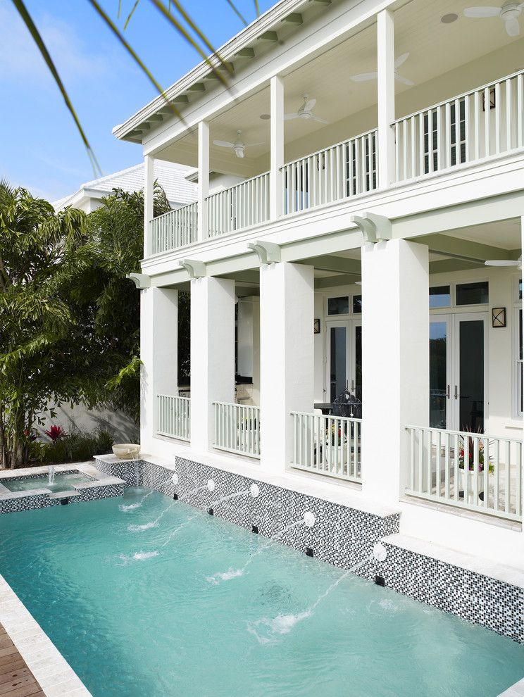 Domain Homes Tampa With Tropical Pool And Balcony Mosaic Tile Fountain Porch