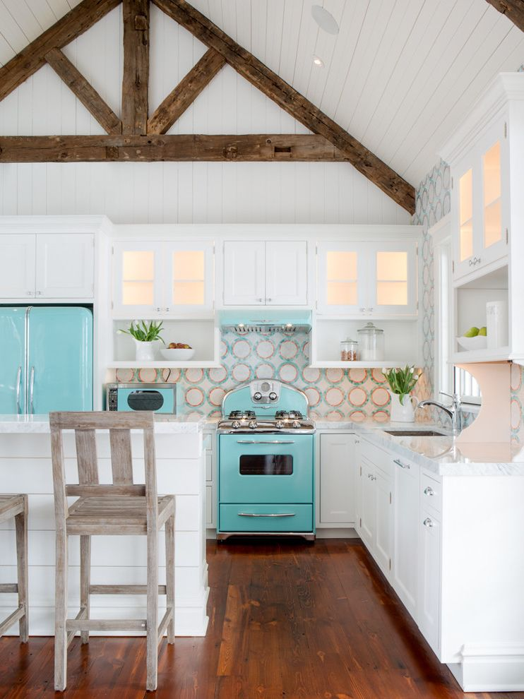 Dons Appliances   Beach Style Kitchen  and Backsplash Mosaic Beach Cottage Beach Home Exposed Wood Beams Mosaic Tiles Pool House Turquoise and White Turquoise Appliances Turquoise Enamel Appliances Vaulted Ceiling