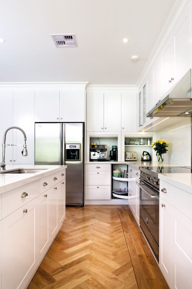 Dons Appliances   Transitional Kitchen  and Bin Pulls Cabinet Lazy Susan Cake Stand Cup Pulls Glass Front Cabinets Herringbone Floor Herringbone Pattern Lazy Susan Shaker Style Stainless Steel Tambour White Counters