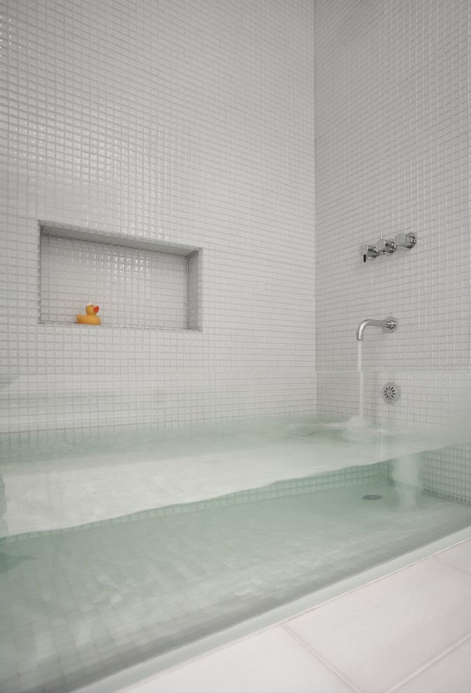 Dons Mobile Glass   Contemporary Bathroom  and Clear Bathtub Glass Bathtub Mosaic Tile Tile Floors White Tile