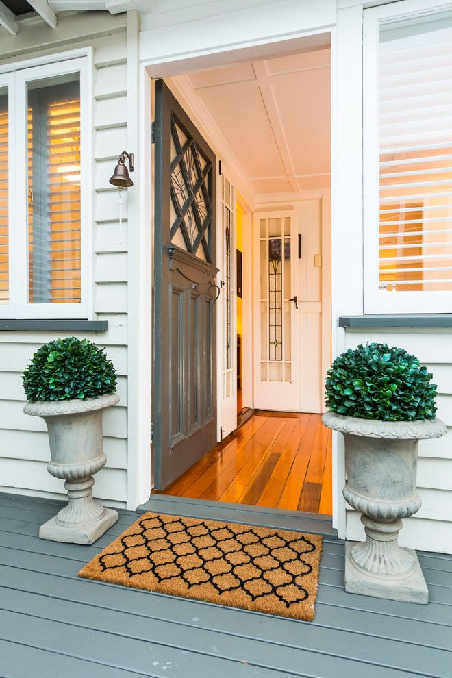 Door Mat Inserts   Traditional Entry  and Arabesque Pattern Art Deco Foyer Gray Decking Queenslander Topiaries Urns White Siding