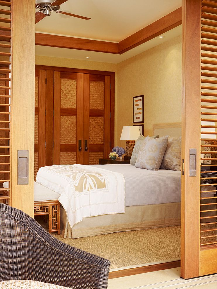 Door Mat Inserts   Tropical Bedroom Also Bedskirt Ceiling Fan Ceiling Lighting Natural Rug Patio Plantation Shutters Recessed Lighting Sliding Screens Tan Wallpaper Tray Ceiling Wood Flooring